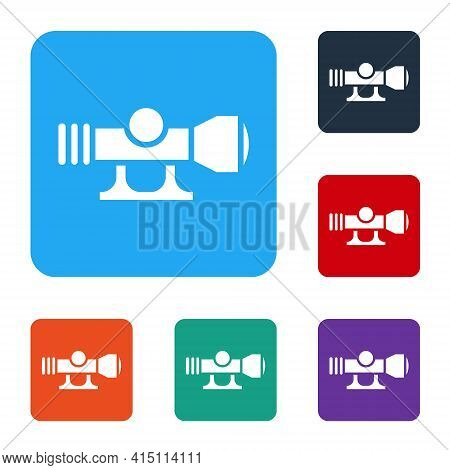 White Sniper Optical Sight Icon Isolated On White Background. Sniper Scope Crosshairs. Set Icons In