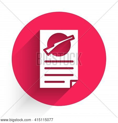 White Firearms License Certificate Icon Isolated With Long Shadow. Weapon Permit. Red Circle Button.