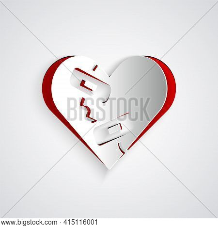 Paper Cut Healed Broken Heart Or Divorce Icon Isolated On Grey Background. Shattered And Patched Hea