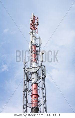 gsm tower on the blue sky background poster