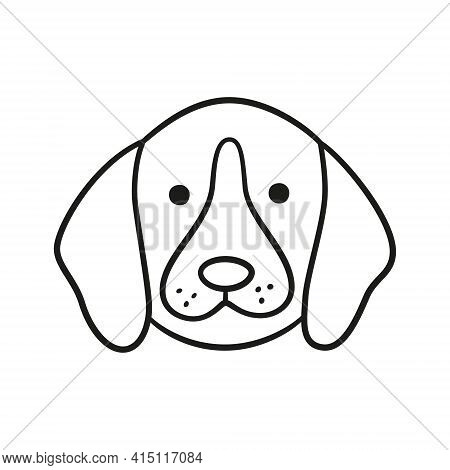 Cute Beagle Face. Dog Head Icon. Hand Drawn Isolated Vector Illustration In Doodle Style On White Ba