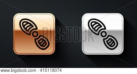 Gold And Silver Human Footprints Shoes Icon Isolated On Black Background. Shoes Sole. Long Shadow St