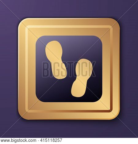 Purple Human Footprints Shoes Icon Isolated On Purple Background. Shoes Sole. Gold Square Button. Ve