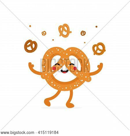 Cute Cartoon Style Smiling Pretzel, Knot-shaped Baked Pastry Character Juggling, Throwing Up Pretzel