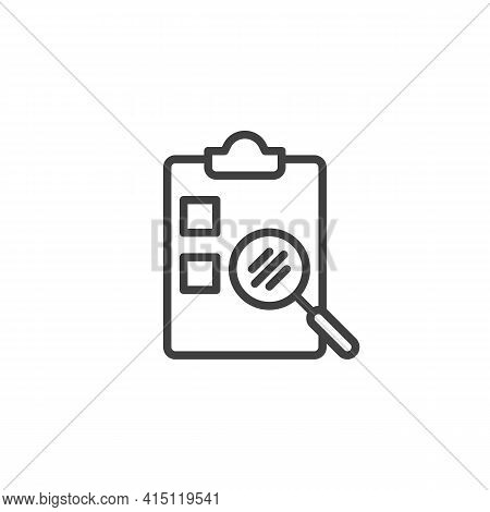 Checklist Review Line Icon. Linear Style Sign For Mobile Concept And Web Design. Questionnaire Surve