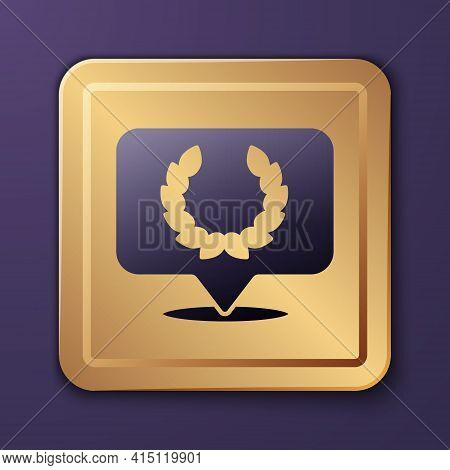 Purple Laurel Wreath Icon Isolated On Purple Background. Triumph Symbol. Gold Square Button. Vector