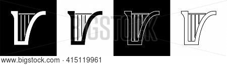 Set Harp Icon Isolated On Black And White Background. Classical Music Instrument, Orhestra String Ac