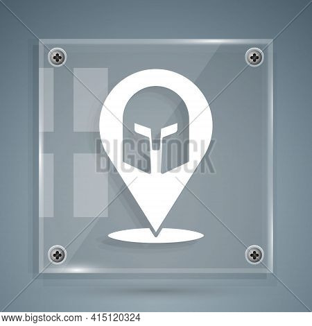 White Greek Helmet Icon Isolated On Grey Background. Antiques Helmet For Head Protection Soldiers Wi