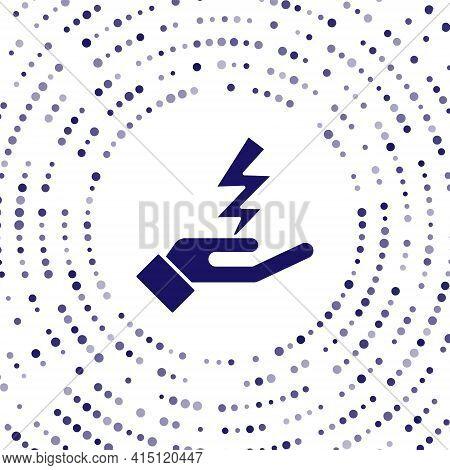 Blue Zeus Icon Isolated On White Background. Greek God. God Of Lightning. Abstract Circle Random Dot