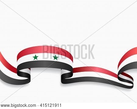 Syrian Flag Wavy Abstract Background. Vector Illustration.