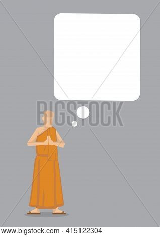 Buddhism Monk With A Empty Giant Thinking Bubble. Concept Of Buddhist Culture, Thinking Or Religion