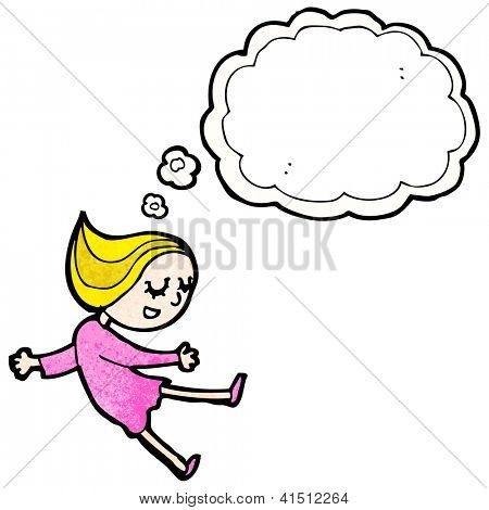 cartoon girl daydreaming
