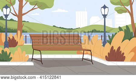 Landscape Of Empty Urban Public Park With Wooden Bench, Lantern, Trees, Bushes And Water On Backgrou