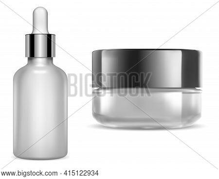 Cream Jar, Serum Dropper. Round Creme Pack, Transparent Glass Lotion Flask Mockup. Makeup Blush Jar
