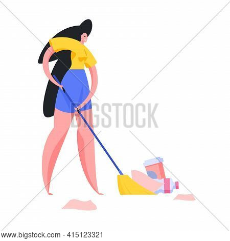 Woman Sweeping Garbage In Pile Illustration. Female Character Volunteer In Blue Shorts And Yellow Ts