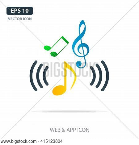 Colorful Music Notes, Song, Melody Or Tune Flat Vector Icon For Musical Apps And Websites. Vector Il