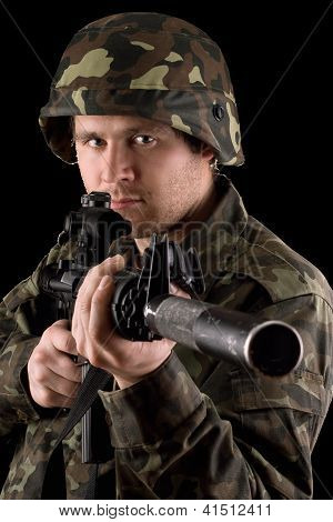 Watchful Soldier Aiming  M16 In Studio