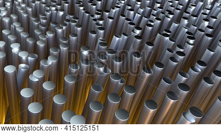 Industrial Landscape From Forest 3d Render Vertical Steel Pipes. Shiny Metallurgy In Various Lengths