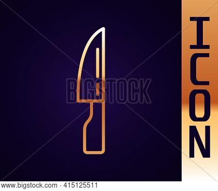 Gold Line Barbecue Knife Icon Isolated On Black Background. Kitchen Knife Icon. Bbq Knife Sign. Barb