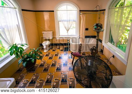 Key West, Usa - 04.30.2017: Interior Of Ernest Hemingway Home In Key West. Luxurious Villa In Spanis