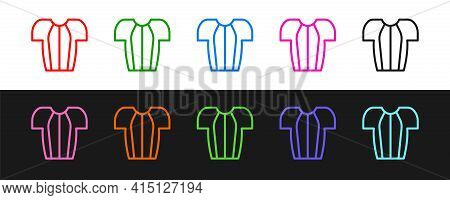 Set Line Cycling T-shirt Icon Isolated On Black And White Background. Cycling Jersey. Bicycle Appare