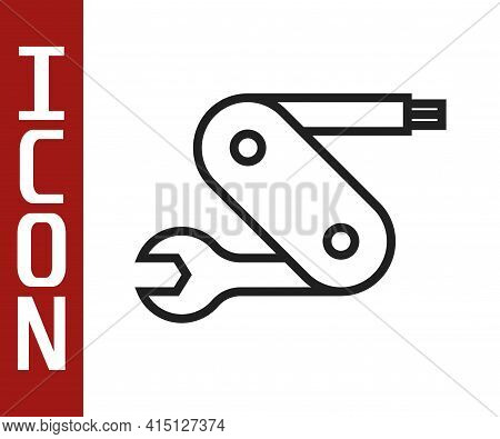 Black Line Swiss Army Knife Icon Isolated On White Background. Multi-tool, Multipurpose Penknife. Mu