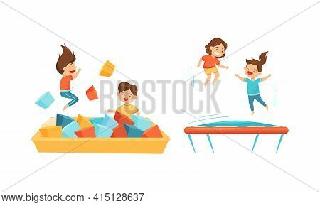 Excited Children Jumping On Trampoline Bouncing And Playing With Soft Cubes Vector Set