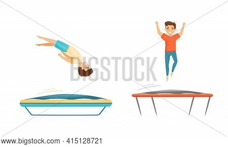 Excited Boys Jumping On Trampoline Bouncing And Having Fun Vector Set