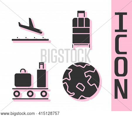Set Worldwide, Plane Landing, Airport Conveyor Belt With Suitcase And Suitcase Icon. Vector