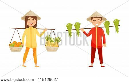 Vietnamese Man And Woman In Conical Hat Carrying Fruits In Basket And Rice Plant Vector Set