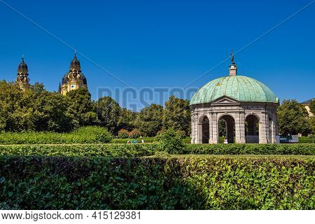 Munich, Germany - Jul 27, 2020: Hofgarten Park With Dianatempel In Munich. The Diana Pavilion And Th
