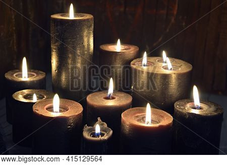 Still Life With Group Of Burning Candles On Witch Altar. Esoteric, Gothic And Occult Background, Hal