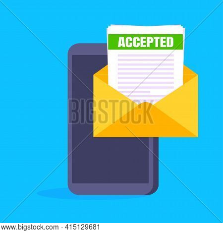 College Or University Acceptance Letter On Smartphone Screen, Open Envelope Document Email. Job Empl