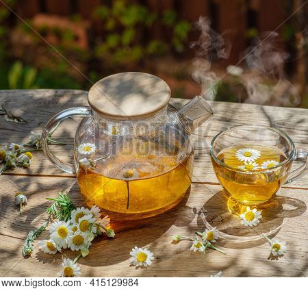 Herbal chamomile tea and chamomile flowers near teapot and tea glass. Rural or countryside background.