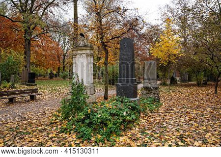 Munich, Germany - Nov 01, 2020: View Of Famous Old North Cemetery Of Munich, Germany With Historic G