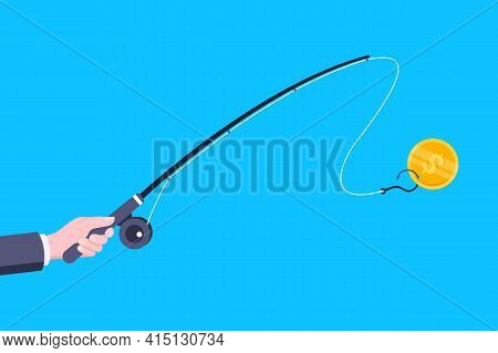 Money Bait And Money Trap Business Concept. Hand Holds Fishing Rod With Hook And Banknote Dollar Fla