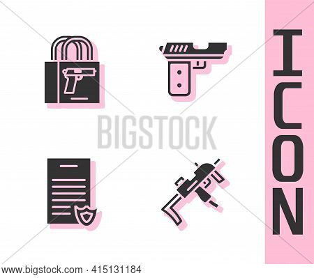 Set Mp9i Submachine Gun, Buying Pistol, Firearms License Certificate And Pistol Or Icon. Vector