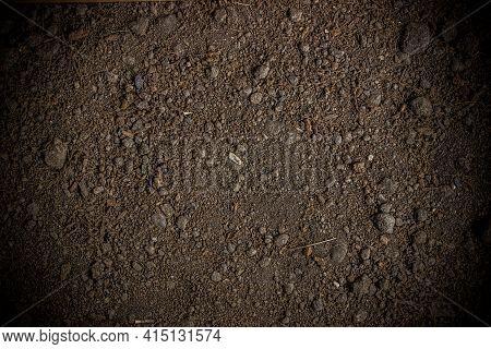Ground Texture. Top View Of A Dark Ground Surface.