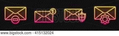 Set Line Envelope With Shield, Delete Envelope, Envelope And Envelope Setting. Glowing Neon Icon. Ve