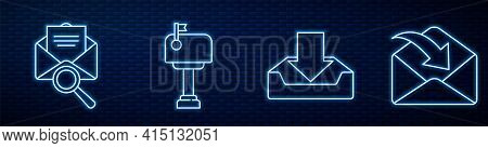 Set Line Download Inbox, Envelope With Magnifying Glass, Mail Box, Envelope And Envelope. Glowing Ne