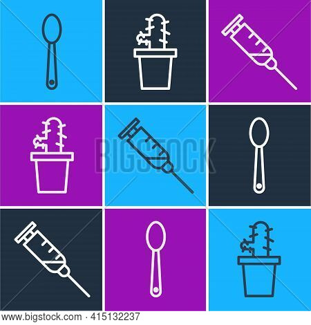 Set Line Heroin In A Spoon, Syringe And Cactus Peyote In Pot Icon. Vector