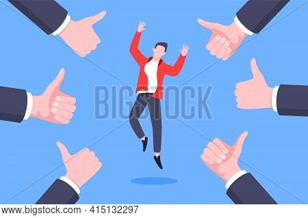 Employee Recognition Or Proud Worker Of The Month Business Concept Flat Style Design Vector Illustra