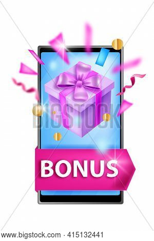 Loyalty Program, Customer Reward Bonus Concept, Cash Back Gift Illustration, Smartphone Screen, Box.