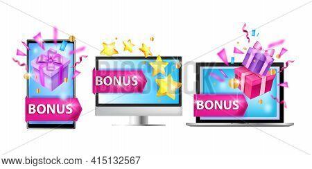 Loyalty Program Vector Illustration, Customer Bonus Reward Concept, Laptop, Smartphone, Computer Scr
