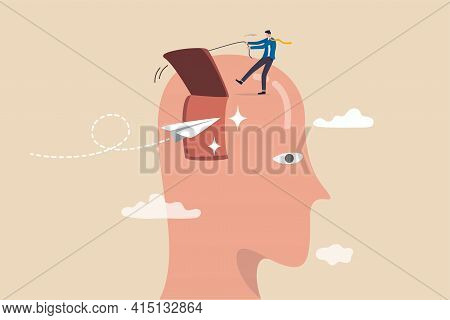 Open Mind To Receive New Message Or Inspiration, Free Your Brain To Think About New Idea Or Free You