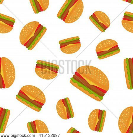 Seamless Pattern With Burger On White Background. Fast Food, Street Takeaway Junk Food. Vector Illus