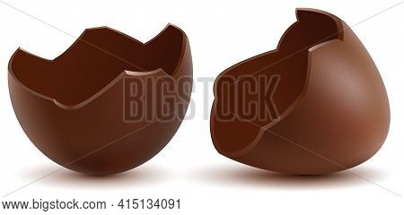 Brown Broken Chocolate Egg Cracked Shell Two Halves