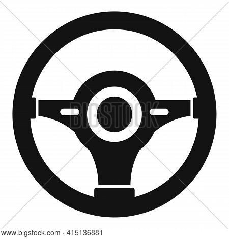 Leather Steering Wheel Icon. Simple Illustration Of Leather Steering Wheel Vector Icon For Web Desig