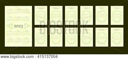 2023 Calendar In Delicate Natural Trendy Style Decorated With Botanical Hand Drawn Branch Leaves. Se