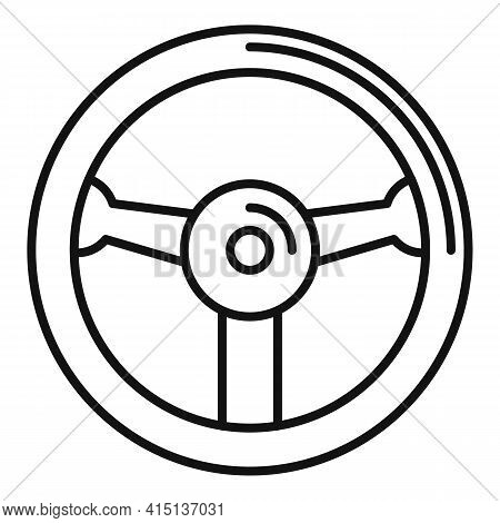 Hand Steering Wheel Icon. Outline Hand Steering Wheel Vector Icon For Web Design Isolated On White B